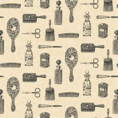 56 sq. ft. Black and Cream Victorian Toiletries Novelty Print Wallpaper-WC1283329 at The Home Depot