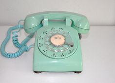 Vintage Phone Blue Rotary Dial Bell System Western Electric Telephone
