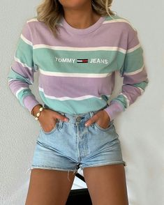 pastel purple and mint long sleeve sweater with tommy jeans logo and flag. (っ◔◡◔)っ ♥ Follow on Pinterest to stop being ugly! @katesstylediary ♥