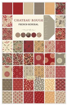 -Chateau Rouge Charm Square - Patchwork & Quilting Fabric - $15.00 : Fabric Patch, Patchwork Quilting fabrics, Moda fabric, Quilt Supplies, Patterns