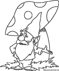 Gnome and Mushroom House Coloring Pages Free x