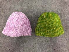 Handmade Knitted Lot of 2 Unisex Hats Neon Green Pink | eBay