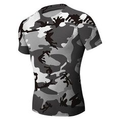 Mens Camouflage Black White Wicking Tees Tight Sports Fitness Training... (770,750 BAM) ❤ liked on Polyvore featuring men's fashion and men's clothing
