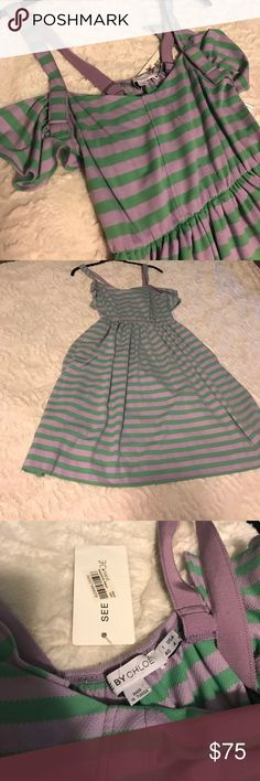 See by Chloe Dress See by Chloé dress 👗 new with tags  size USA 4. Lavender/ green Chloe Dresses Midi