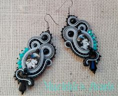 Earrings BREAKFAST AT TIFFANY'S,earrings black&white,fashionable earrings,woman accessories,handmade jewelry,made in Italy,earrings soutache di MuciddosBeads su Etsy