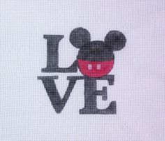 $18.00         M I C K E Y Mouse LOVE Handpainted Needlepoint Canvas #Unbranded