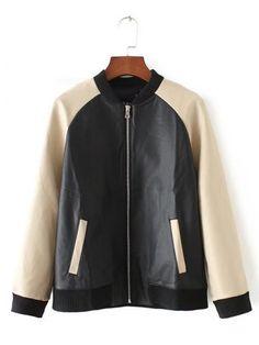 Long Sleeve Stand Collar PU Splicing Jacket
