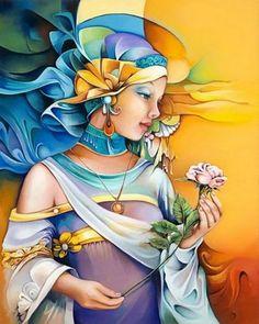 Oreste Bouzon. Peintures à l'huile, à l'instar de batik. La <a class=