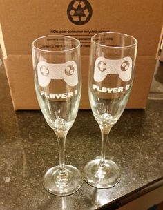 PLAYER 1 and PLAYER 2 Video Game Wedding Champagne Flutes