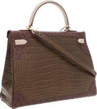 "Luxury Accessories:Bags, Hermes Limited Edition ""Grand Marriage"" 35cm Matte Gris ElephantAlligator, Marron Fonce Ostrich & Ficelle Lizard ..."