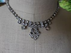 Vintage 1950s to 1960s Silver Tone Rhinestones Pronged Drop Necklace Adjustable Bridal Wedding by KimsKreations17 on Etsy https://www.etsy.com/listing/247588078/vintage-1950s-to-1960s-silver-tone