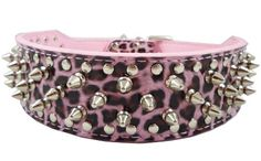 Pink Leopard Faux Leather Spiked Studded Dog Collar Wide, 31 Spikes 52 Studs, Pit Bull, Boxer >>> Click image for more details. (This is an affiliate link and I receive a commission for the sales) Pitbull Boxer, Boxer Dogs, Boxers, Doggies, Leather Dog Collars, Pet Collars, Pu Leather, Black Leather, Studded Collar