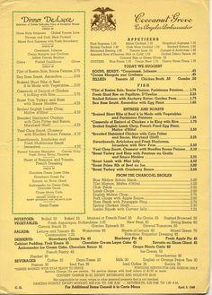 The dinner menu from the Cocoanut Grove nightclub, Ambassador Hotel, Wilshire Blvd, Los Angeles, 1948 Cool Restaurant, Vintage Restaurant, Vintage Menu, Vintage Ads, Ambassador Hotel, Dinner Menu, Dinner Parties, Dining Services, Retro Recipes