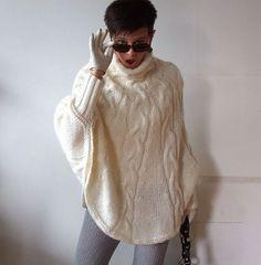 Gestrickter Poncho Hand geflochten Kap-Pullover von couvert auf Etsy