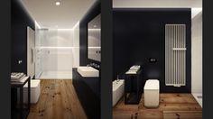 zwart wit loft badkamer