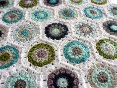 Pretty seaside colors, using Lucy's hexagon pattern at http://attic24.typepad.com/weblog/hexagon-howto.html   . . . .   ღTrish W ~ http://www.pinterest.com/trishw/  . . . .    #crochet  #afghan #blanket #throw