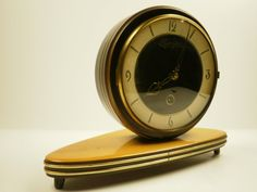 Outstanding Design Mechanical Mid Century Modern Manzher Mantle Clock From Germany 1950's