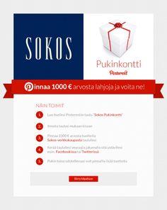 Pinnaa suosikkituotteesi omalle Pinterest-taulullesi ja voita 1000 euron lahjakortti Sokoksen verkkokauppaan! Wink Wink, Christmas Wishes, Christmas Wishes Words