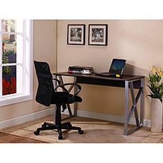 @Overstock - InRoom Computer Desk - Perfect for your home office or dorm room, this desk features a durable metal frame and a large work surface. This desk features stylish X-styled legs.    http://www.overstock.com/Home-Garden/InRoom-Computer-Desk/6573179/product.html?CID=214117  $103.51