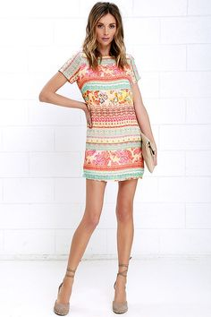 Shimmy, shuffle, and shake in the Shift and Shout Coral Red Multi Print Shift Dress, because you know you look so good! Woven poly fabric features a mix of mint, coral red, and yellow multi print, as it shapes a rounded neckline atop a darted bodice with short sleeves. The shift silhouette falls into a flirty, leg-baring length. Exposed gold back zipper.