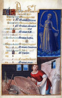The Labours of the Months, August Hours of Louis XII (formerly Hours of Henry VII) France, Tours, s. XV/XVI, Date Range: 1490-1510 Artist: Jean Bourdichon Philadelphia, Free Library of Philadelphia, Rare Book Department Lewis E M 011:19