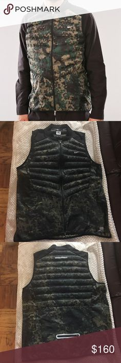 Nike Aeroloft 800 Mint Condition Nike Aeroloft Running Vest for Men | Worn only once | Camo pattern | 1down zipper, 1 up & one rear | Dri-fit mesh shoulder | Lightweight | Offers welcomed  Nike Jackets & Coats Vests