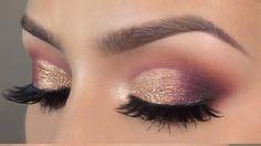 Purple gold cut crease makeup tutorial l HUDA BEAUTY desert dusk palette - YouTube
