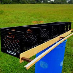 Chicken coupe nesting boxes. Milk crates. Easy and usually free if you go to a coffee shop that gets milk delivered.