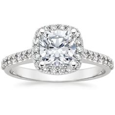 18K White Gold Fancy Halo Diamond Ring with Side Stones from Brilliant Earth