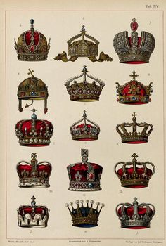 Austrian Empire: Crown of Rudolf II, Holy Roman Emperor German Empire: German State Crown Russian Empire: Great Imperial Crown Kingdom of Hungary: Holy Crown of Saint Stephen German Empire: Crown of the German Empress Kingdom of Bohemia: Crown of St. Wenceslas Kingdom of Prussia: Crown of Wilhelm II German Empire: Crown of the Crown Prince Kingdom of Bavaria: Royal crown of Bavaria United Kingdom: Crown of St. Edward United Kingdom: Crown of Queen Victoria Kingdom of Italy: Royal crown of…