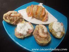 Caceroladas: Patatas rellenas en el microondas. (Tres recetas diferentes)