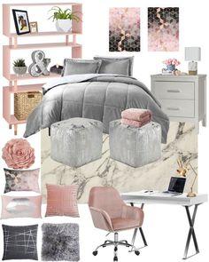 Insanely Cute College Dorm Room or Teen Bedroom Decorating Ideas – Mood Board - Bedrooms - Bedroom Decor Bedroom Layouts, Bedroom Ideas, Bedroom Designs, Teen Room Designs, Bedroom Themes, Bedroom Inspo, Pink Room, Bedroom Yellow, Bedroom Black