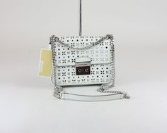 Michael Kors Optic White Perforated Leather Sloan Medium Chain Shoulder Bag for sale online Bags For Sale Online, Michael Kors Crossbody Bag, Chain Shoulder Bag, Thrifting, Medium, Leather, Ebay, Accessories, Budget
