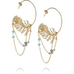 Alex Monroe 22-karat gold-plated peacock-feather hoop earrings (3.035.195 IDR) ❤ liked on Polyvore featuring jewelry, earrings, accessories, alex monroe, aros, gold plated jewellery, post earrings, gold plated earrings, beading hoop earrings and beaded earrings
