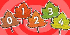 Numbers 0-20 on Autumn Leaves