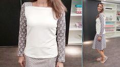 Dieses Damenshirt kannst Du mit unserem Schnittmuster leicht zu Hause nachnähen. Die von uns verwendeten Materialien findest du im Stoffshop!