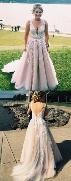 2d5efb52aac4 A-Line V-Neck Champagne Prom Dress with Beading Appliques, Classic Princess  Long