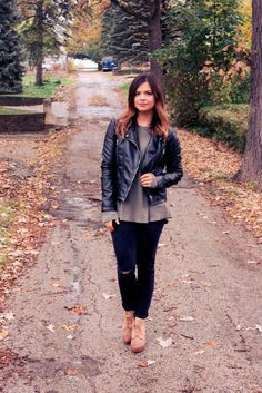 Fall Style. Black leather jacket, army green top, black distressed denim, and wedge booties   Maryssa Albert Blog