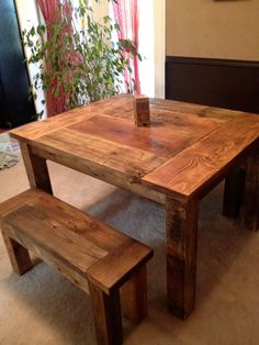 Aged and Weathered Wood Farmhouse Dining Table and by WickedGrain