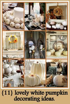 White pumpkin decorating ideas! Im loving these white pumkins this yr!!