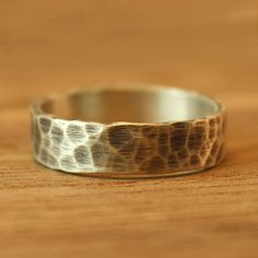 Wide Rustic Hammered Wedding Band in sterling silver. Men's wedding band. Women's wedding band. Alternative Wedding Ring. on Etsy, $130.00