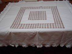 ANTIQUE VINTAGE WHITE COTTON CROCHET EDGE DRAWN THREAD TABLECLOTH 47 INCHES
