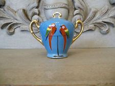 NORITAKE Mustard Pot Art Deco Colorful Macaw PARROT on Perch Design