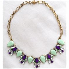Mint, purple and clear crystal statement necklace Great piece to add to your jewelry collection. Measures 19 inches with 1.5 inch extender chain. Sorry  No trades but all reasonable offers are welcome :) Boutique Jewelry Necklaces