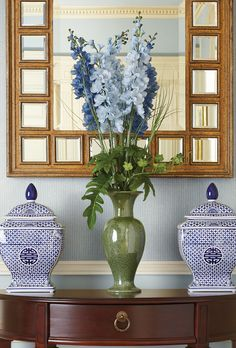 Blue and white, pop of green, fab mirror