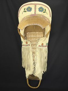 c. 1930s - Nice Paiute Beaded Cradle American Indian Basket