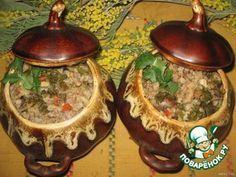 Ароматная гречка с сердечками и грибами в горшочках