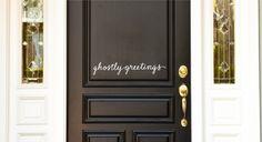 Ghostly Greetings, custom vinyl front door decal.. $8.00, via Etsy.