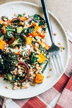 Autumn Vegetable Grain Salad with Cider Mustard Vinaigrette — The Whole Bite - Maybe use a lemon dressing and make extra for the next day, it got pretty dry. I used 2 regular sized sweet potatoes Healthy Salad Recipes, Veggie Recipes, Whole Food Recipes, Vegetarian Recipes, Cooking Recipes, Veggie Autumn Recipes, Cooking Kale, Cooking Artichokes, Cooking Ribs