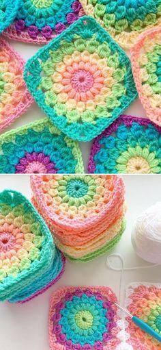 Granny Square Pattern Free, Crochet Square Blanket, Granny Square Crochet Pattern, Afghan Crochet Patterns, Granny Square Tutorial, Free Pattern, Crochet Granny Square Beginner, Heart Granny Square, Free Crochet Square